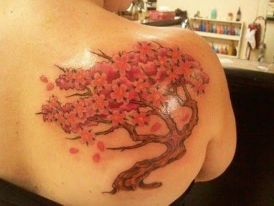 14 best cherry blossom tattoo designs with meanings styles at life. Black Bedroom Furniture Sets. Home Design Ideas