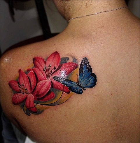 14 amazing lily tattoo designs with pictures styles at life. Black Bedroom Furniture Sets. Home Design Ideas