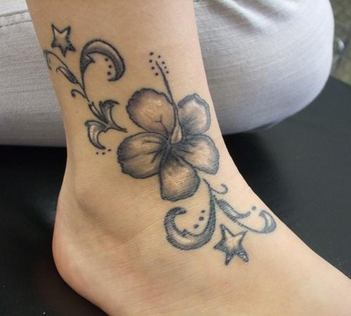 lily tattoos on foot