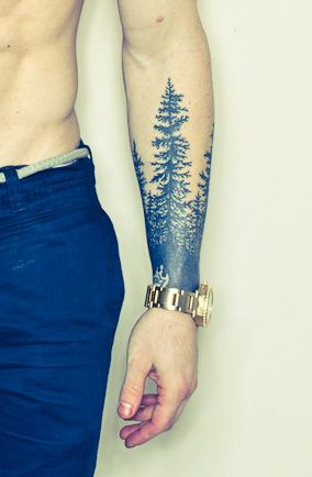 Forest forearm tattoo