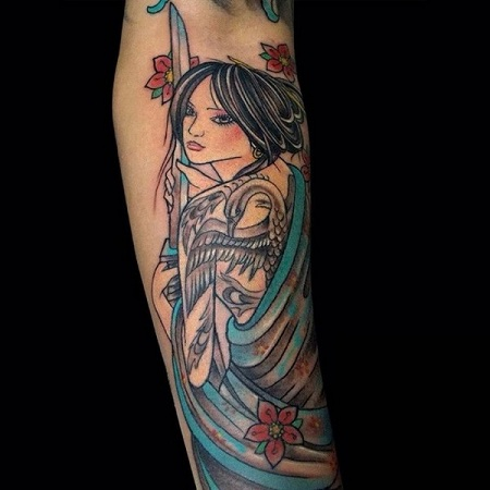 Sophisticated Geisha Tattoo For Women