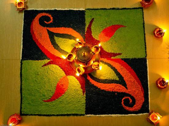 The Flower and Lamp Rangoli