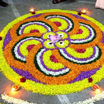 easy rangoli designs with flowers