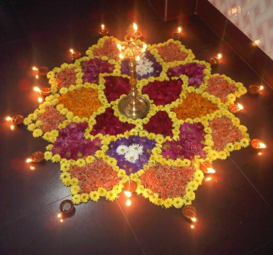 diwali rangoli designs with flowers