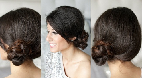 Low Bun Braided Side Juda Hairstyle For Short Hair