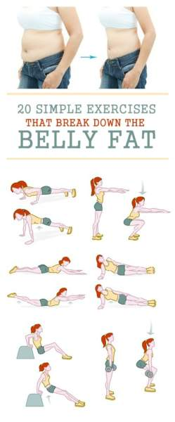 25 simple Exercises that break down the Belly Fat