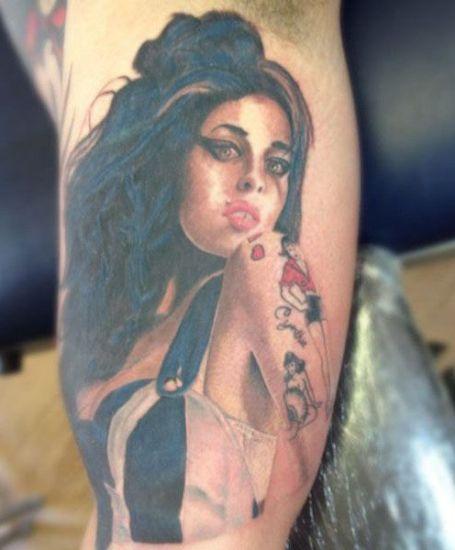 Amy Winehouse Face Tattoo