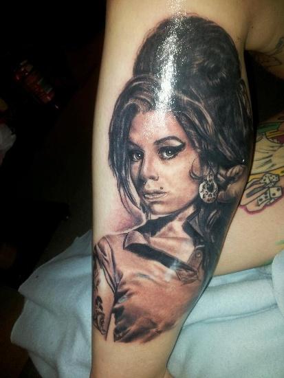 Painted Amy Winehouse Tattoo