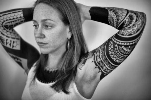 Formidable Black Work Mayan Tattoo Design
