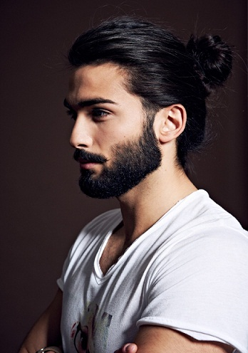 The Dark Bun for Men with Medium Hair