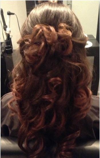 Curls Half Tied With Side Bangs