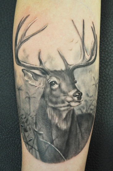 9 best deer tattoo designs and pictures styles at life. Black Bedroom Furniture Sets. Home Design Ideas