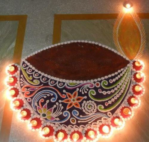 Simple Diya Rangoli