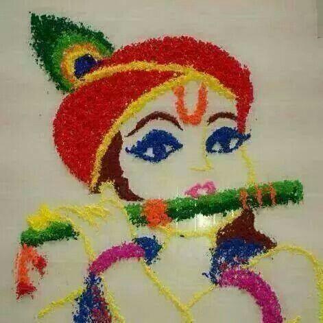 krishna rangoli design