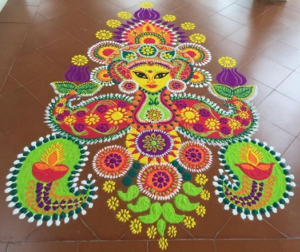 Traditional Durga Rangoli Design