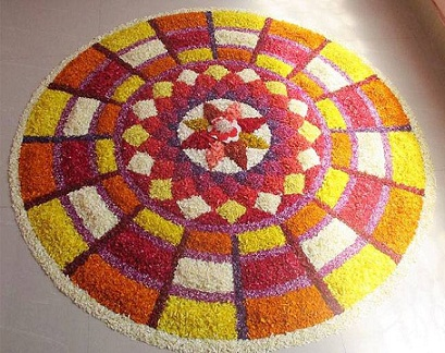 Rangoli with Coloured Rice