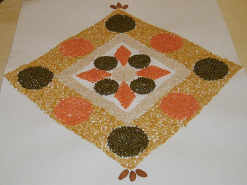 latest rangoli designs with grains