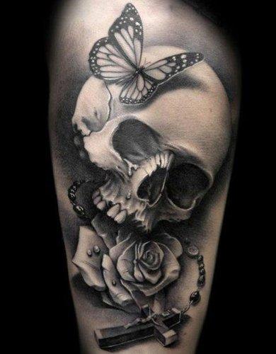 Sweetheart skull tattoo