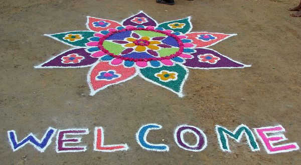 Simple Welcome Rangoli Designs