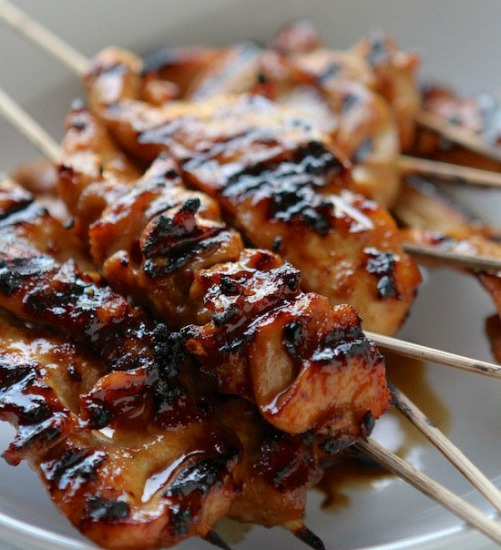 party finger foods - Chicken sate skewers