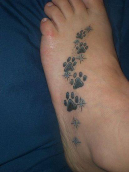 Dog Footprints Tattoos Designs