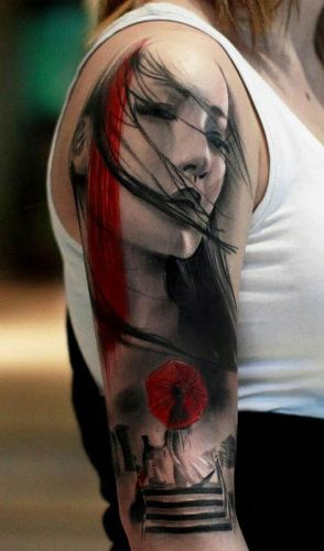 Faces in the arm tattoo