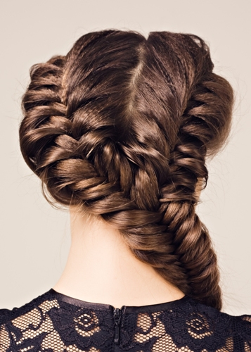 Puffy double sides fishtail braid