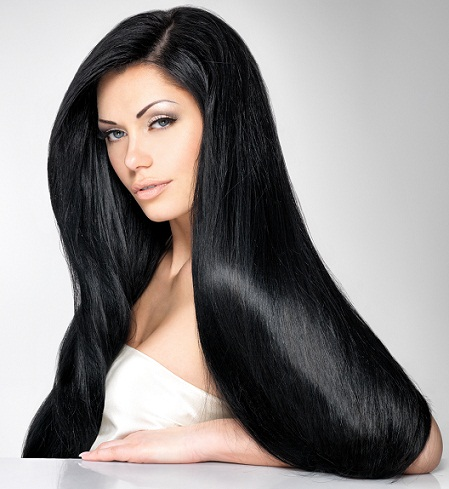 Straight black hairstyles for round faces -long straight hair