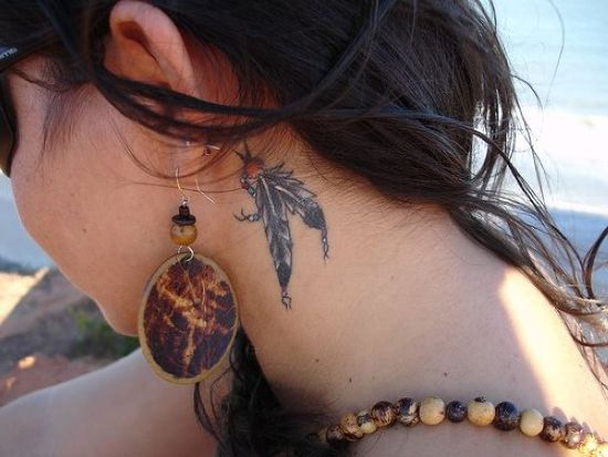 Feather Neck Tattoo Designs