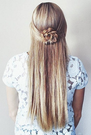 The Flower Braid Hairstyle For Straight Hair