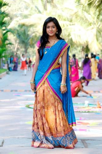 Keerthi Blue Designer Half Saree