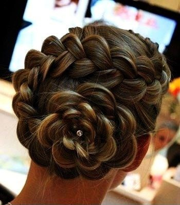 braided bun hairstyles - The Flower Braid
