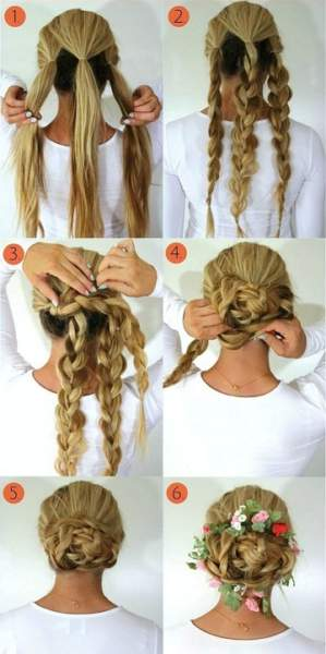 The Low Braid Bun Flower Braid Hairstyles