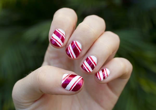 Candy Cane Nail Art Design Tutorial Styles At Life