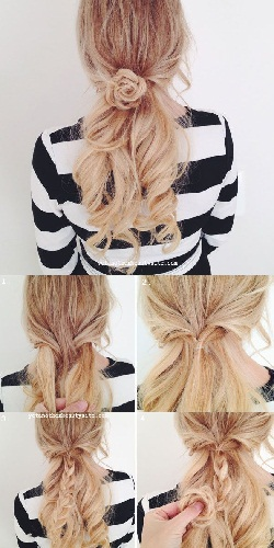 Flower-Braid-And-Low-Ponytail-Hairstyle