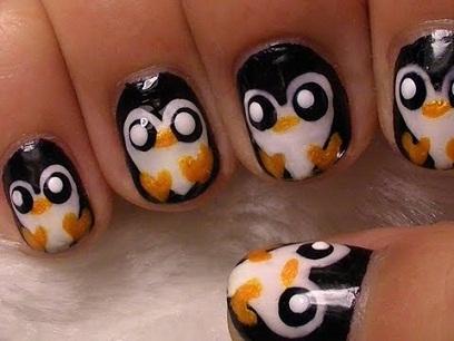 penguin nail designs2