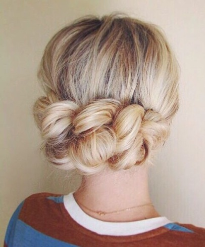 Braid And Knotted Bun Flower Hairstyles