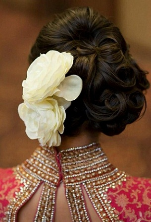 Curly Updo with Large Flowers