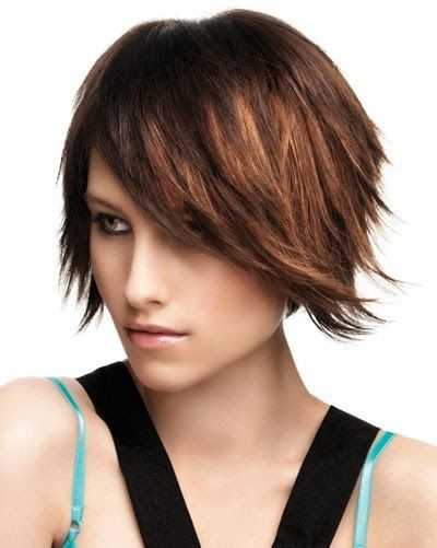 Cropped Chocolate Bob With Caramel Feathers