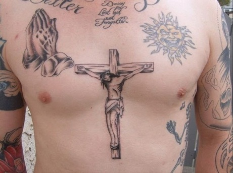 Religious Tattoo Design On Chest