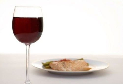 salmon and red wine