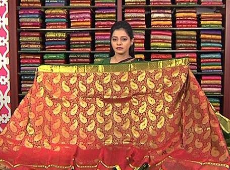 Kanchi Pattu-Golden and red Saree