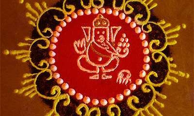 The Ganesha rangoli design