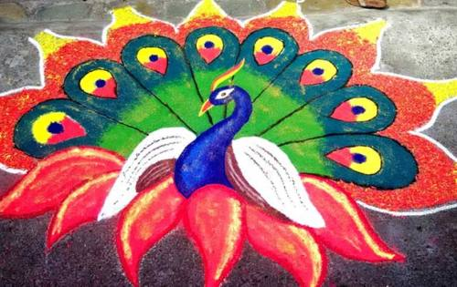The Indian Peacock Rangoli Design 3