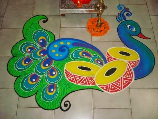 The Indian Peacock Rangoli Design