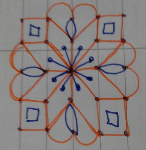 The Small Rangoli Design with Dots