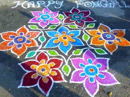 The Beautiful Indian Floral Rangoli