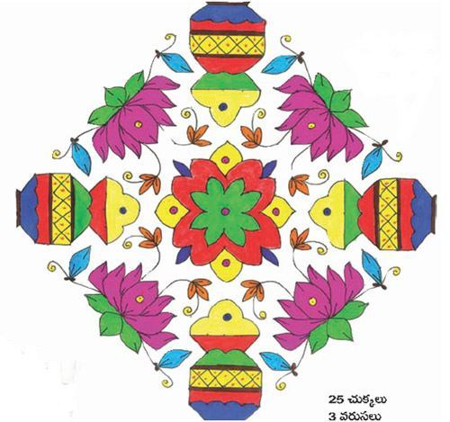The colorful South Indian dotted Rangoli
