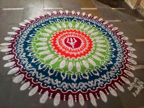 The colorful new year rangoli design