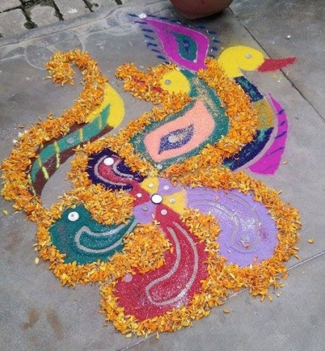 The duck rangoli for new year